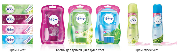 Разновидности кремов Veet